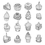 Set of vector sketches of little cakes Stock Photos