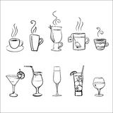Set of vector sketchy drinks. Set of sketchy drinks isolated on white background royalty free illustration