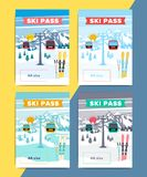 Set of vector ski pass template design. Colorful mountain resort. Background illustration. Skipass ticket or card layout with lift or gondola on winter Royalty Free Stock Image