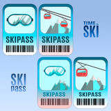 Set of vector ski pass template design. Stock Photo