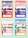 Set of vector ski pass template design.. Trendy colorful mountain background illustration Royalty Free Stock Photos
