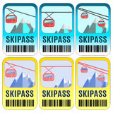 Set of vector skipass template design. Royalty Free Stock Photo