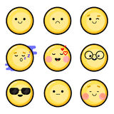 Set 1. Vector smileys, emoji. Style flat, yellow color. Vector image Royalty Free Stock Images