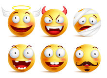 Set of vector smileys with funny faces like angel and demon. Set of vector smileys with funny faces like angel, demon, patient, injured and toothless smiley in vector illustration