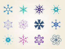 Set of vector snowflakes Royalty Free Stock Photos