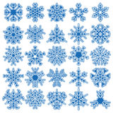 Set of 25 vector snowflakes. Big set of 25 openwork snowflakes. Winter design element Royalty Free Stock Image