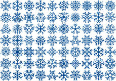 Set of 70 vector snowflakes Royalty Free Stock Photos