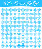 Set of 100 vector snowflakes Royalty Free Stock Image