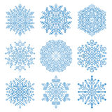Set of Vector Snowflakes. Set of vector blue snowflakes. Fine winter ornament. Snowflakes collection Royalty Free Stock Image