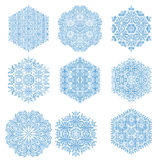 Set of Vector Snowflakes. Set of vector blue snowflakes. Fine winter ornament. Snowflakes collection. Snowflakes for backgrounds and designs Stock Photography