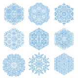 Set of Vector Snowflakes. Set of vector blue snowflakes. Fine winter ornament. Snowflakes collection. Snowflakes for backgrounds and designs Stock Image