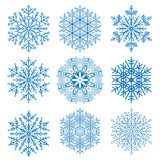 Set of Vector Snowflakes. Set of vector blue snowflakes. Fine winter ornament. Snowflakes collection. Snowflakes for backgrounds and designs Royalty Free Stock Photo