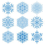 Set of Vector Snowflakes. Set of vector blue snowflakes. Fine winter ornament. Snowflake collection Stock Images