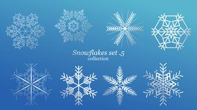 Set of vector Snowflakes Christmas design with blue ice luxury color on blue background. Winter white snow flake crystal element. stock illustration