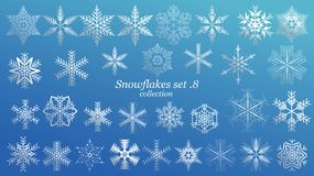 Set of vector Snowflakes Christmas design with blue ice luxury color on blue background. Winter white snow flake crystal element. Xmas frost flat isolated royalty free illustration