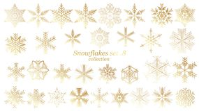Set of vector Snowflakes Christmas design with gold luxury color on white background vector illustration