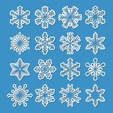 Set of 16 vector snowflakes. Collection of 16 vector white snowflakes with simple shadow on blue background, isolated illustration Stock Photography