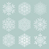 Set of Vector Snowflakes. Fine winter ornament. Snowflakes collection. Snowflakes for backgrounds and designs Royalty Free Stock Photos