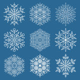 Set of Vector Snowflakes. Fine winter ornament. Snowflake collection. Blue and white colors Stock Photography