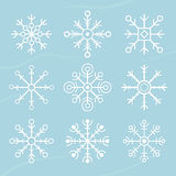 Set of vector snowflakes. flat icons Royalty Free Stock Photography