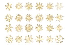 Set of vector snowflakes gold flake of snow gradient royalty free illustration