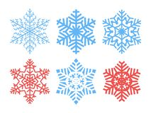 Set of vector snowflakes isolated on background. Elements for festive winter Christmas, new year decorations. Vector illustration. stock illustration