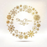 Set of vector snowflakes. Marry Christmas calligraphy Royalty Free Stock Photos