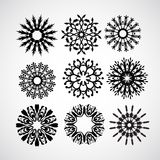 Set of vector snowflakes on white Stock Images
