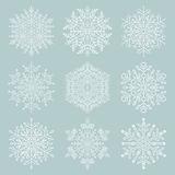 Set of Vector Snowflakes. Set of vector white snowflakes. Fine winter ornament. Snowflakes collection Royalty Free Stock Image