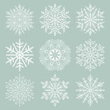 Set of Vector Snowflakes. Set of vector white snowflakes. Fine winter ornament. Snowflakes collection. Snowflakes for backgrounds and designs Royalty Free Stock Image