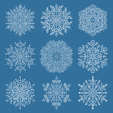 Set of Vector Snowflakes. Set of vector white snowflakes. Fine winter ornament. Snowflakes collection. Snowflakes for backgrounds and designs Royalty Free Stock Photo