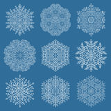 Set of Vector Snowflakes. Set of vector white snowflakes. Fine winter ornament. Snowflakes collection. Snowflakes for backgrounds and designs Stock Image