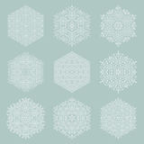 Set of Vector Snowflakes. Set of vector white snowflakes. Fine winter ornaments. Snowflakes collection. Snowflakes for backgrounds and designs Stock Photo