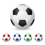 Set of vector soccer balls. Set of three-dimensional olorful soccer balls. Isolated on white. Vector EPS10 illustration Royalty Free Stock Photography