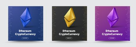 Set of Vector social media banners with a 3D coin  crypto curren. Cy Ethereum icon. Design square black, purple and blue for the web Royalty Free Stock Images