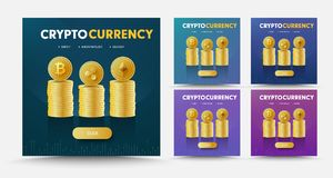 Set of vector social media banners with stacks of coins crypto c. Urrency Bitcoint, Ripple and Ethereum. Square templates for web design of different colors stock illustration