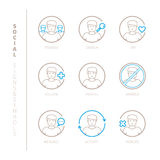 Set of vector social network icons and concepts in mono thin line style Royalty Free Stock Photo
