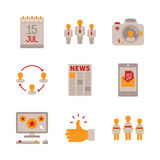 Set of vector social networking icons and concepts in flat style Royalty Free Stock Photo