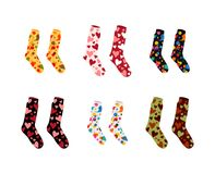 Set of vector socks of different color textures and patterns stock illustration