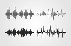 Set of vector sound waves. Audio equalizer technology, pulse musical. Stock Photo
