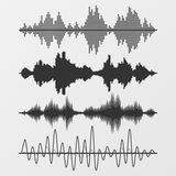 Set of vector sound waves Stock Image