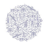 Set of vector space in the circle icon Royalty Free Stock Photos