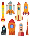 Set of vector space rocket ship. Eight rocket isolated on white background. Vector illustration Royalty Free Stock Image