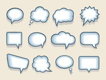 Set of vector speech or thought bubbles. Set of twelve blank funny cartoon vector speech or thought bubbles in a variety of shapes with interior blue shading for vector illustration