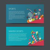 Set of vector sport banners. Flat design sport concept. Sports summer and winter equipment Stock Image