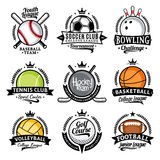 Set of vector sport emblems and labels. Sport icons for tournaments, organizations, apparel and team identity Royalty Free Stock Photos