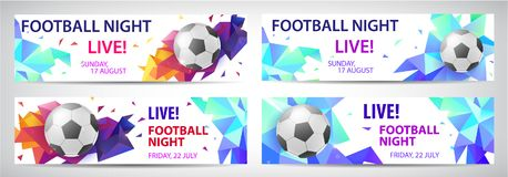Set of vector sport football banners, live matches. Faceted colorful background with football ball and text Stock Images
