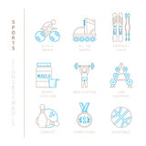 Set of vector sport icons and concepts in mono thin line style.  Royalty Free Stock Images
