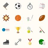 Set of vector sport icons in flat design Stock Image