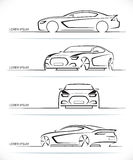 Set of vector sports car silhouettes Royalty Free Stock Images